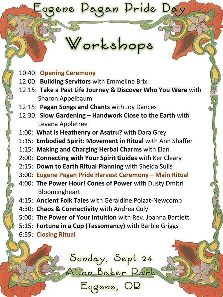 Workshops for 2017 Pagan Pride Eugene & Springfield